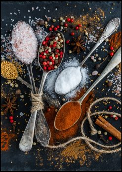Spoons With Colorful Spices