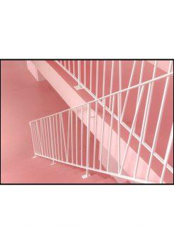 White Metal Railings Cross Pink Stairs