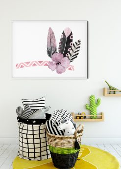 Three Pink Feathers And A Flower