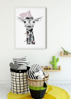 Cute Giraffe With Hat Painting