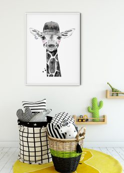 Cute Giraffe With A Cap Painting
