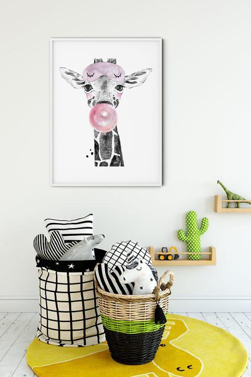 Cute Giraffe With A Bubblegum Painting