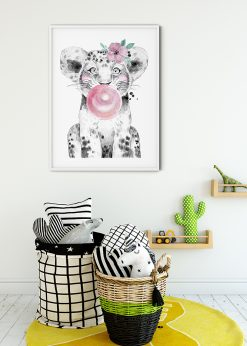 Cute Baby Lion With Bubblegum Painting