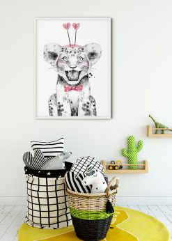 Cute Baby Lion With Pink Hearts Painting