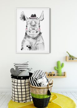 Cute Baby Rhino With Hat And Glasses Painting
