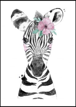 Cute Baby Zebra With Flower Painting