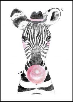 Cute Baby Zebra With Bubblegum Painting