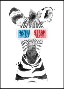 Cute Baby Zebra With Glasses Painting