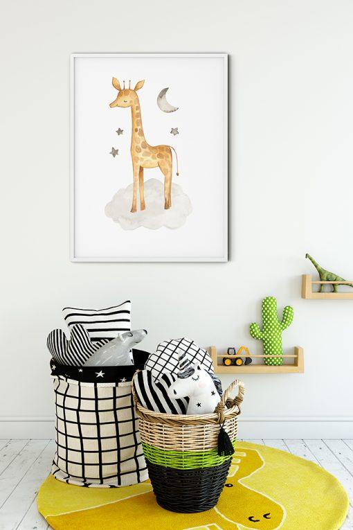 Baby Giraffe With Stars And Moon