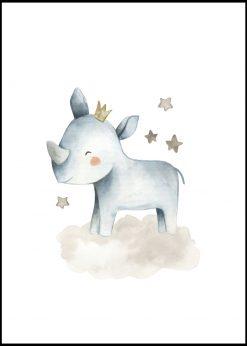 Baby Rhino With Stars Painting