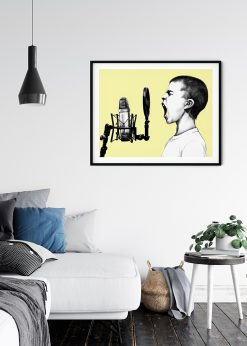 Boy Sings in a Microphone Illustration