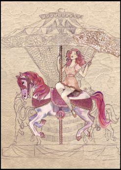 Red Head Girl Sitting On A Carousel Hourse Illustration