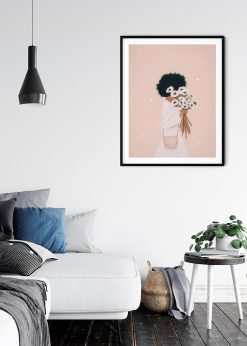 Girl With Flowers Illustration