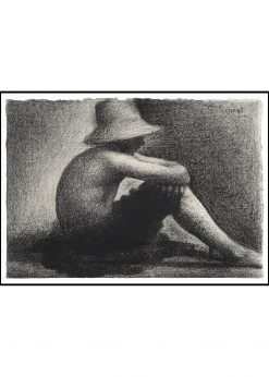 Seated Boy with Straw Hat