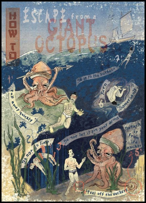 How to Escape a Giant Octopus Illustration