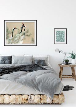 Red Crowned Cranes Vintage Illustration