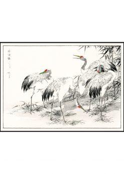 Japanese Crane and Bamboo Illustration