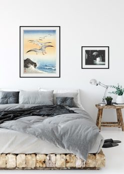 Five Seagulls Above Stormy Sea Illustration