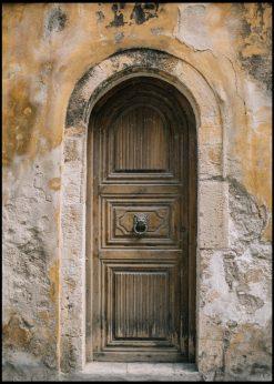 Old Wooden Door in Orange Setting