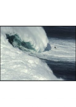 Giant Wave Behind a Surfer