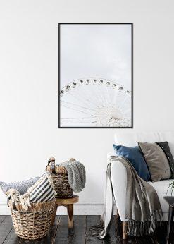 Light Sky with a White Ferris Wheel