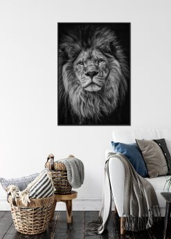 Lion Face in Grayscale