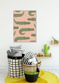 Salmon Pink Crocodiles Pattern