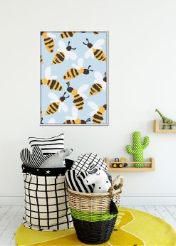 Light Blue Bees Pattern