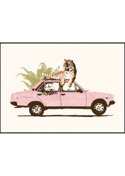Tiger on Car by Florent Bodart